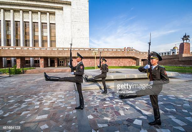Changing of the guards in Bishkek, capital of Kyrgyzstan. On 31 August, on Independence Day of Kyrgyzstan, a monument to the hero of the national...