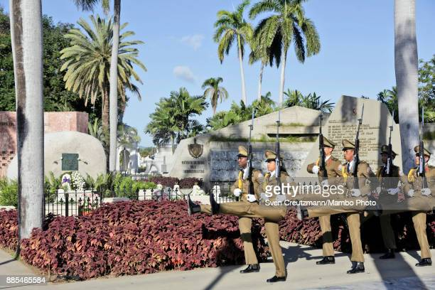 Changing of the guards in front of the burial site of late Revolution leader Fidel Castro as Cuba commemorates the first anniversary of his death at...