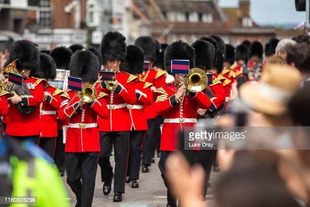 Changing of the guards outside Windsor Castle on the day that Archie Harrison Mountbatten-Windsor, son of The Duke & Duchess of Sussex, was...