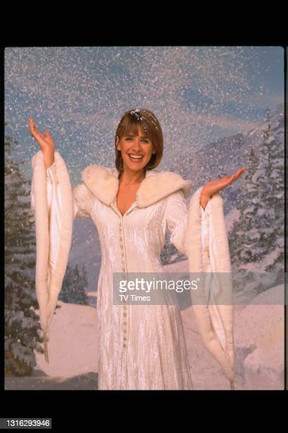 Changing Rooms presenter Carol Smillie photographed on a Christmas-themed set, circa 1999.