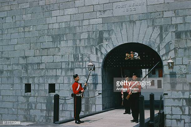 Changing the guard at Fort Henry in Kingston Ontario Canada 1959 The Fort Henry Guard are a military reenactment organisation