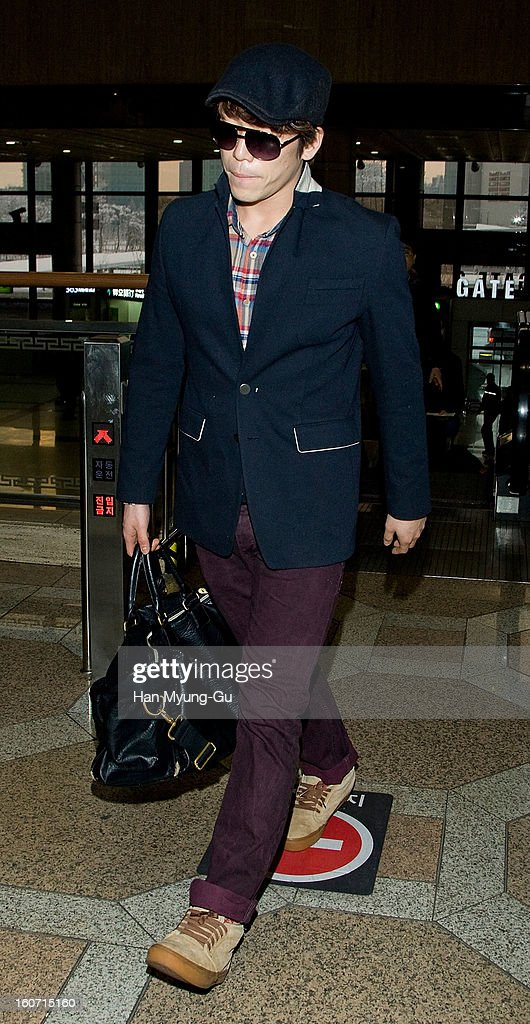 Changmin of South Korean boy band 2AM is seen on departure to Japan at Gimpo International Airport on February 4, 2013 in Seoul, South Korea.