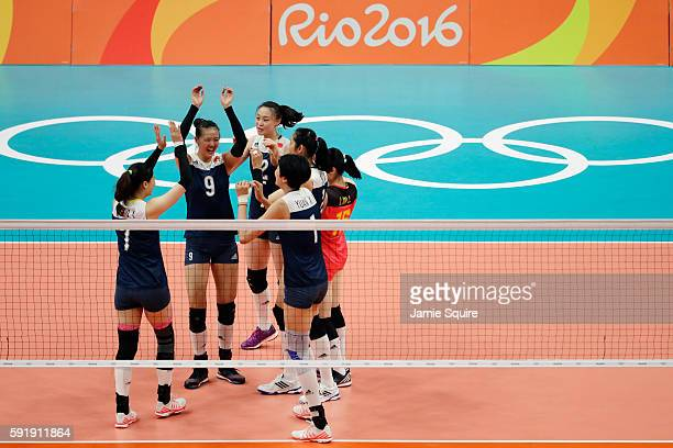 Changning Zhang of China celebrates a point against the Netherlands with her teammates during the Women's Volleyball Semifinal match at the...