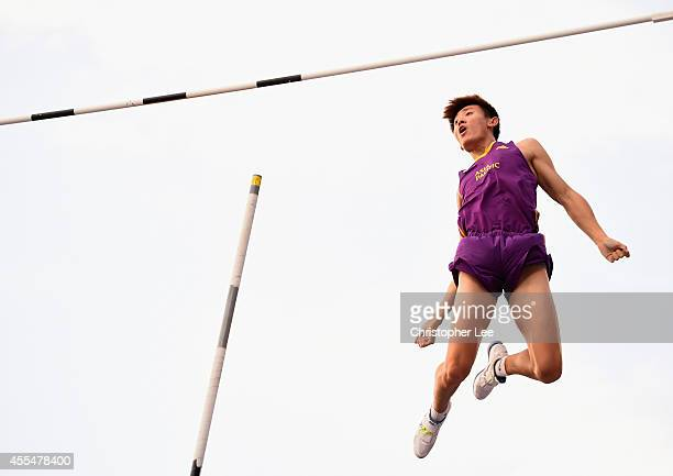 Changrui Xue of China celebrates as he clears a jump in the Mens Pole Vault during the IAAF Continental Cup Day 2 at the Stade de Marrakech on...