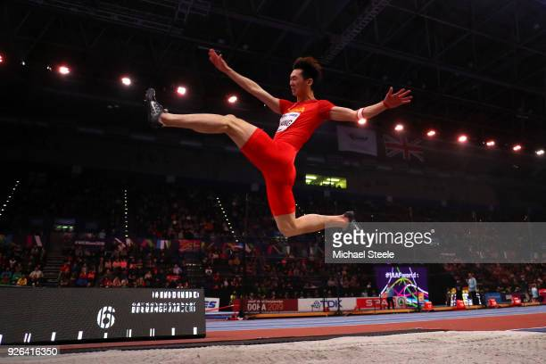 Changzhou Huang of China competes in the Long Jump Mens Final during the IAAF World Indoor Championships on Day Two at Arena Birmingham on March 2...