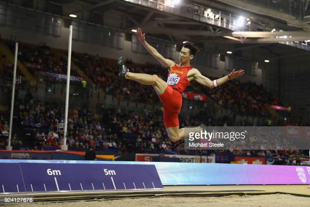 Changzhou Huang of China in action during the men's long jump during the Muller Indoor Grand Prix at Emirates Arena on February 25, 2018 in Glasgow,...