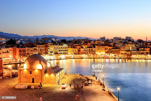 Chania city harbor by night