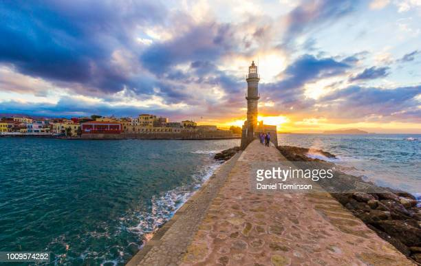 chania, old venetian harbour, crete, greece - herakleion stock photos and pictures
