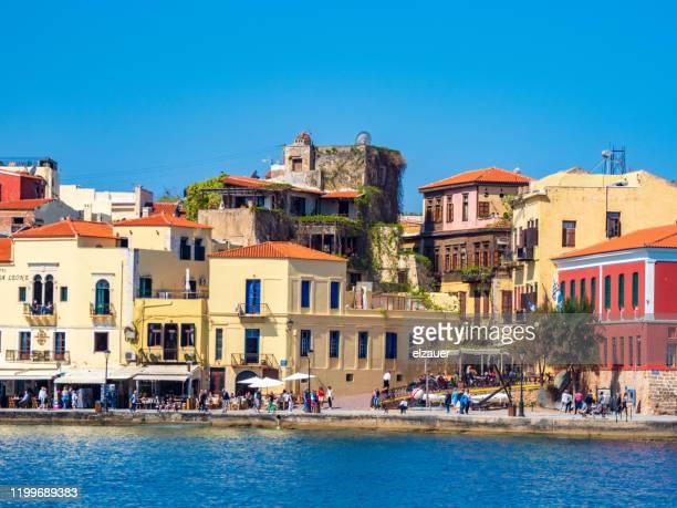 chania, old venetian harbour, crete - creta fotografías e imágenes de stock