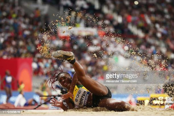 Chanice Porter of Jamaica competes in the Women's Long Jump final during day ten of 17th IAAF World Athletics Championships Doha 2019 at Khalifa...