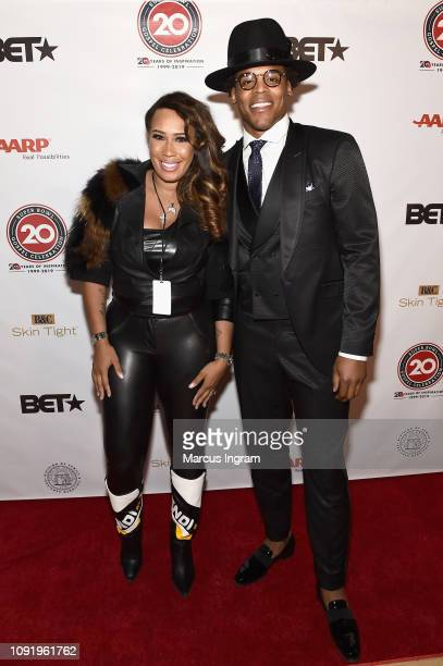 Chanita Foster and Cam Newton pose backstage at the 2019 Super Bowl Gospel Celebration at Atlanta Symphony Hall on January 31 2019 in Atlanta Georgia