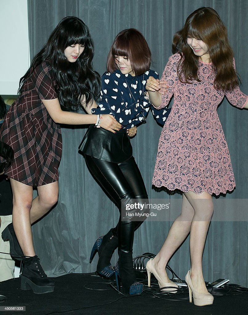 Chanmi, Jimin of South Korean girl group AOA (Ace of Angels) and Juniel attend tvN Drama 'Cheongdamdong 111' press conference at CGV on November 18, 2013 in Seoul, South Korea. The drama will open on November 21, in South Korea.