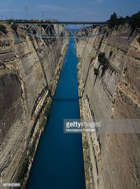 Channel 1883 1893 19th Century excavation 6345 X 24X 8 m Greece Corinth Whole artwork view The artificial channel cutting the Peloponnese in half...