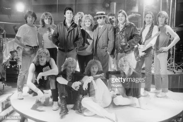 Channel 4 Christmas Show performers group shot UK 12th December 1984 including Elton John Def Leppard group members Meat Loaf Bonnie Tyler Shakin'...