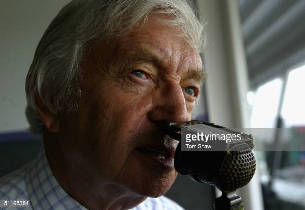 Channel 4 commentator Richie Benaud commentates during day 2 of the 3rd npower test match between England and the West Indies at Old Trafford Cricket...