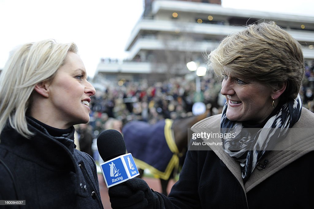 Channel 4 Racing presenter Clare Balding (R) interviews trainer Rebecca Curtis at Cheltenham racecourse on January 26, 2013 in Cheltenham, England.