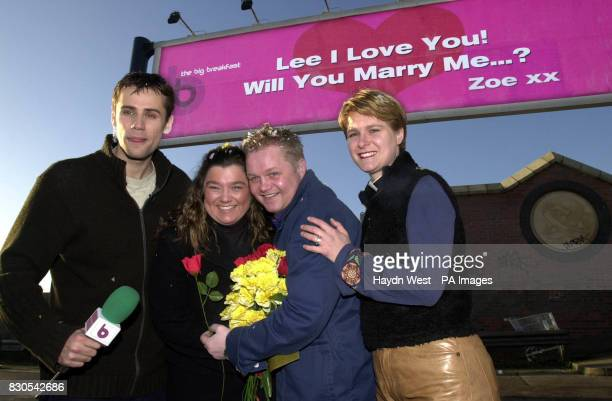 Channel 4's Big Breakfast presenter Richard Bacon with Zoe Triplet who proposed to her boyfriend Lee Jeyes on television as a Valentine's Day stunt...