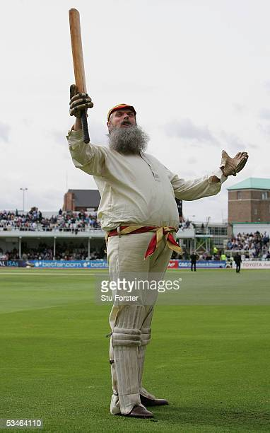 Channel 4's W.G. Grace lookalike performs for the cameras during day two of the Fourth npower Ashes Test match between England and Australia at Trent...