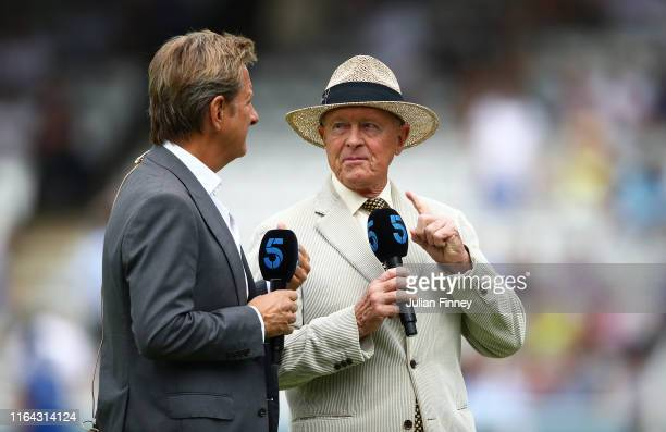 Channel 5 pundits Geoffrey Boycott and Mark Nicholas talk before day three of the Specsavers Test Match between England and Ireland at Lord's Cricket...