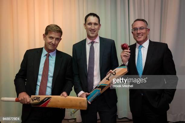 Channel 7 CEO Tim Worner James Sutherland Cricket Australia CEO and Patrick Delaney Fox Sports during Cricket Australia's media rights announcement...