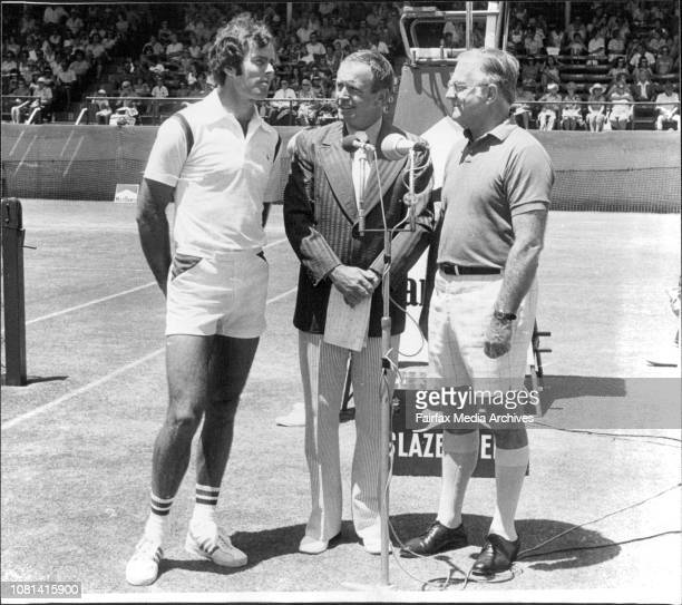 Channel 7 Crew at NSW open Tennis Championship White City Allan Stone Michael Williamson and Col Long December 29 1976
