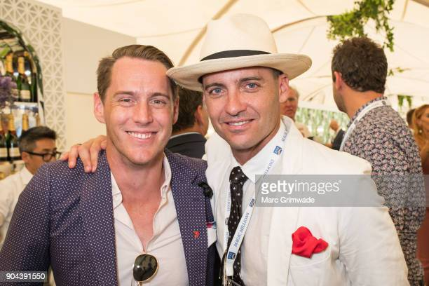Channel 7 identity Tony Auden and Andrew Costello attend Magic Millions Raceday on January 13 2018 in Gold Coast Australia