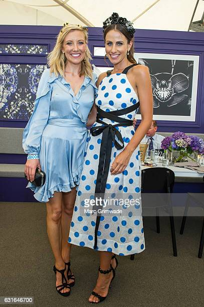 Channel 7 news presenter Angie Asimus and Magic Millions ambassador Amanda Abate attend Magic Millions Raceday on January 14 2017 in Gold Coast...
