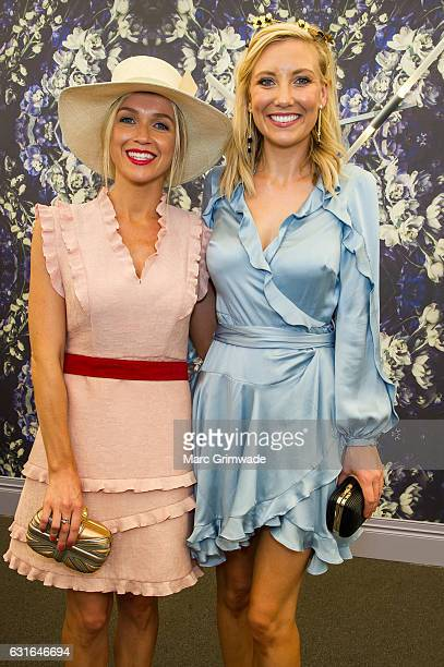 Channel 7 news presenters Sarah Cumming and Angie Asimus attend Magic Millions Raceday on January 14 2017 in Gold Coast Australia