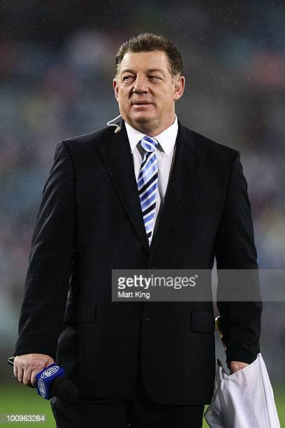 Channel 9 commentator and former rugby league player Phil Gould waits to talk on camera before game one of the ARL State of Origin series between the...