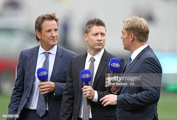 Channel 9 commentators Mark Nicholas Michael Clarke and Shane Warne look on during day three of the Second Test match between Australia and Pakistan...