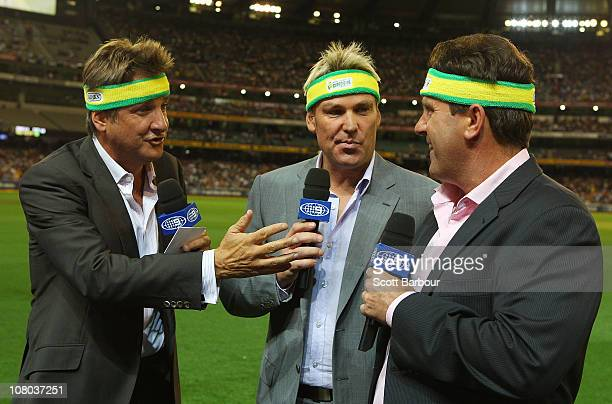 Channel 9 commentators Mark Nicholas Shane Warne and Mark Taylor talk to the camera during the Second Twenty20 International Match between Australia...