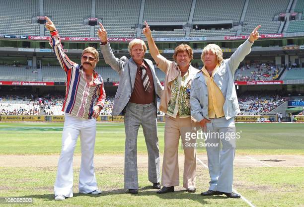 Channel 9 commentators Michael Slater James Brayshaw Mark Taylor and Ian Healy pose before game one of the Commonwealth Bank One Day International...