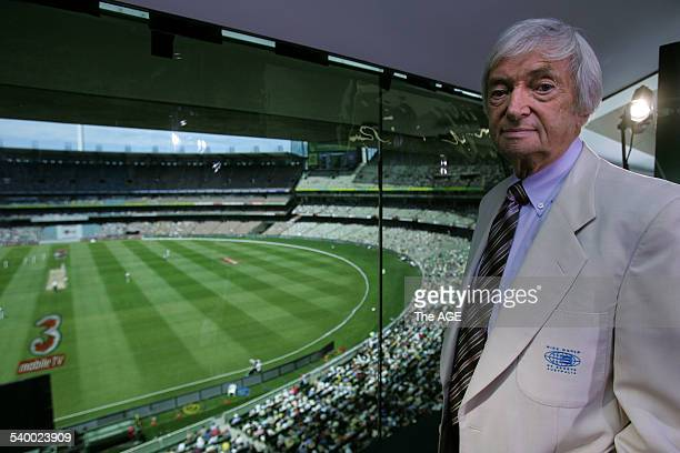 Channel 9 cricket commentator Richie Benaud is pictured at The MCG wearing his beige jacket that Kerry Packer insisted he wear Mr Packer died...