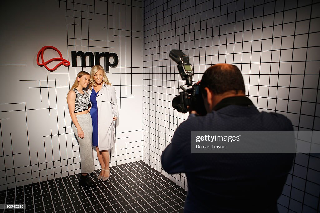 Channel 9 personality Jo Hall poses for a photo with her daughter Emmerson at the launch of the first Australian MRP store at Melbourne Central on October 21, 2015 in Melbourne, Australia.