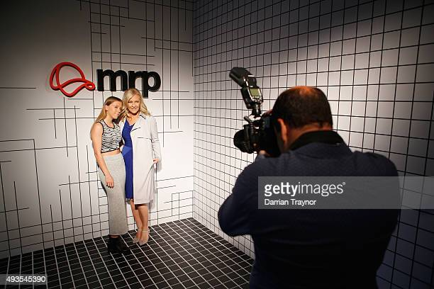 Channel 9 personality Jo Hall poses for a photo with her daughter Emmerson at the launch of the first Australian MRP store at Melbourne Central on...