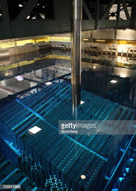 Channel boxes containing plutoniumuranium mixed oxide known as MOX fuel rods sit in a pool inside the building which houses the No 3 reactor at Tokyo...