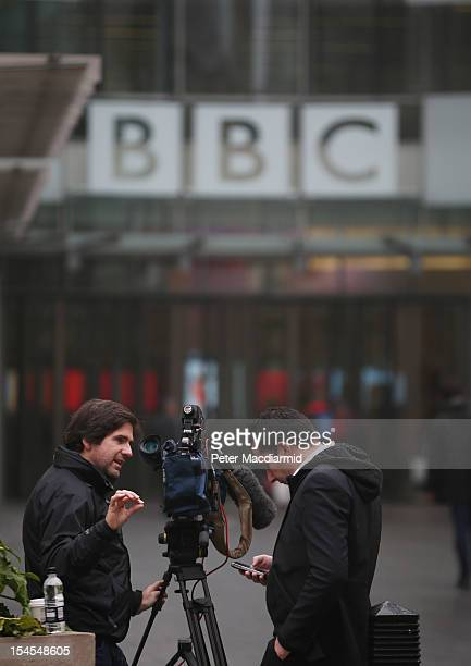 Channel Four television news crew wait outside BBC Broadcasting House on October 22 2012 in London England A BBC1 'Panorama' documentary to be...