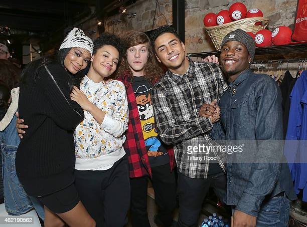 Channel Iman Kiersey Clemons Blake Anderson Quincy Brown and Shameik Moore attend the Pure Barre hosts Popup Studio on January 25 2015 in Park City...