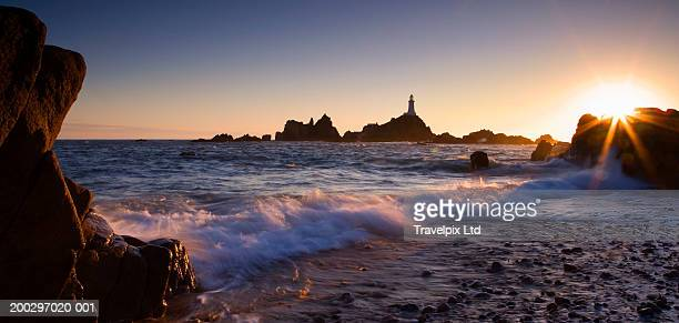 Channel Islands, Jersey, La Corbiere lighthouse, sunset