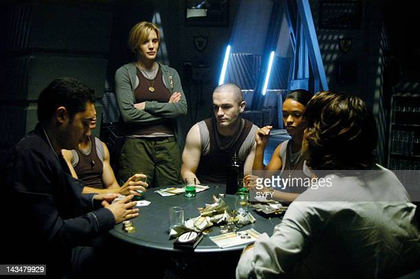 Channel 'Kobol's Last Gleaming Part 1 2' Episode 12 13 Aired 1/17/05 01/24/05 Pictured Alessandro Juliani as Lt Felix Gaeta Katee Sackhoff as Lt Kara...