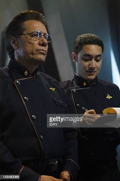 Channel 'Kobol's Last Gleaming Part 1 2' Episode 12 13 Aired 1/17/05 01/24/05 Pictured Edward James Olmos as Admiral William Adama Alessandro Juliani...