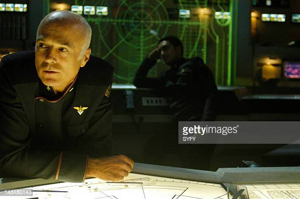 Channel 'Kobol's Last Gleaming Part 1 2' Episode 12 13 Aired 1/17/05 01/24/05 Pictured Michael Hogan as Colonel Saul Tigh Alessandro Juliani as Lt...