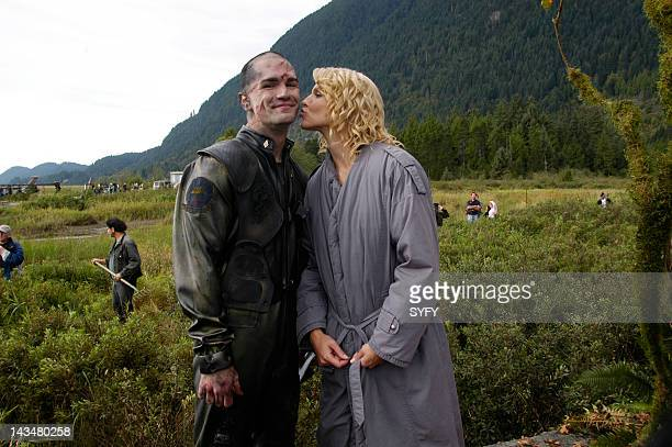 Channel 'Kobol's Last Gleaming Part 1 2' Episode 12 13 Aired 1/17/05 01/24/05 Pictured Samuel Witwer as Crashdown Tricia Helfer as Number Six