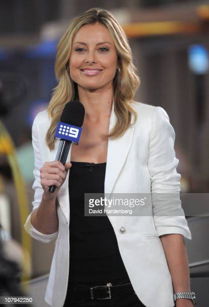 Channel Nine Allison Langdon smiles at the Channel Nine And Daily Telegraph telethon appeal for Queensland flood victims on January 9, 2011 in...