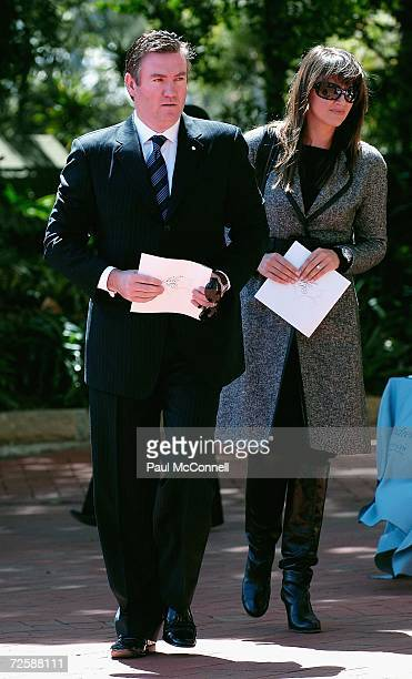 Channel Nine CEO Eddie McGuire and his wife Carla attend the funeral of actress Belinda Emmett at Sydney's Mary Immaculate Church on November 17 2006...