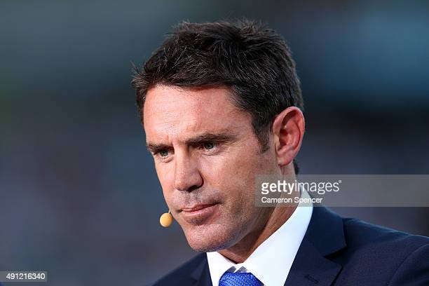 Channel Nine commentator Brad Fittler looks on before the 2015 NRL Grand Final match between the Brisbane Broncos and the North Queensland Cowboys at...