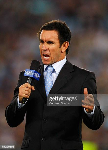 Channel nine commentator Matthew Johns addresses the television audience before match one of the ARL State of Origin series between the New South...