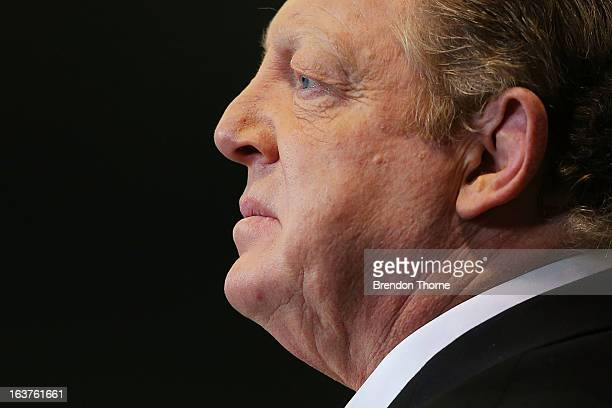 Channel Nine commentator Phil Gould looks on prior to the round two NRL match between the St George Dragons and the Brisbane Broncos at WIN Stadium...