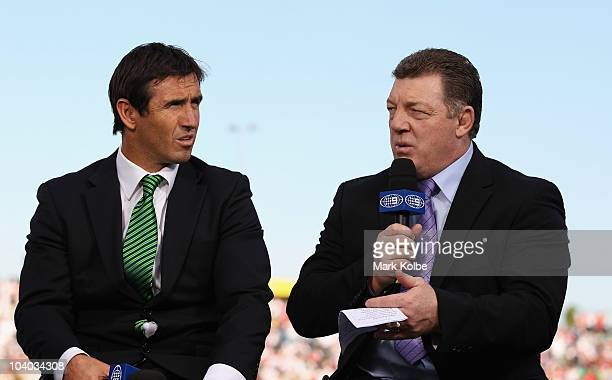 Channel Nine commentators Andrew Johns and Phil Gould speak during their prematch show on the sideline before the NRL Fourth Qualifying Final match...