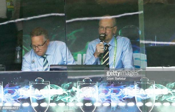 Channel Nine commentators Bill Lawry and Ian Healy commentate during day five of the Fourth Test Match in the 2017/18 Ashes series between Australia...